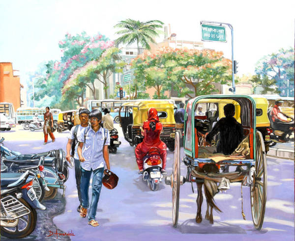 Wall Art - Painting - India Street Scene 3 by Dominique Amendola