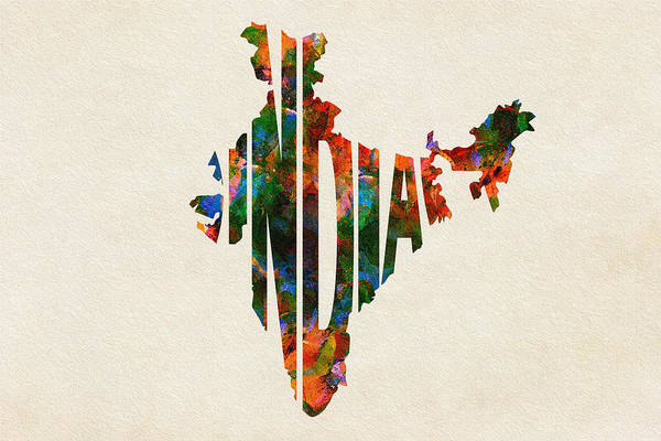 Wall Art - Painting - India Typographic Watercolor Map by Inspirowl Design