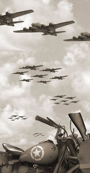 Ww2 Photograph - Indian 841 And The B-17 Panoramic Sepia by Mike McGlothlen