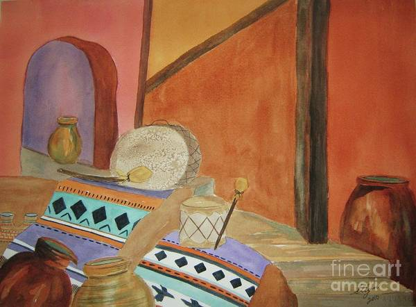 Native American Blanket Painting - Indian Blankets Jars And Drums by Ellen Levinson