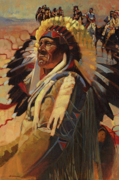 Native Painting - The Chief Indians On Horseback by Don  Langeneckert