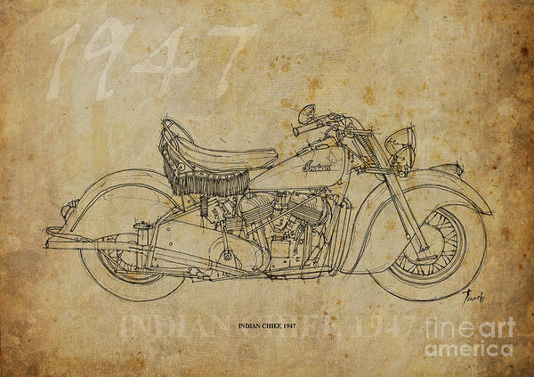 Wall Art - Drawing - Indian Chief 1947 by Drawspots Illustrations