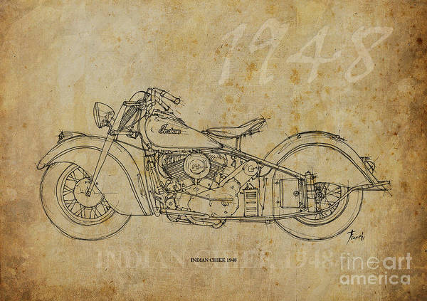 Wall Art - Drawing - Indian Chief 1948 by Drawspots Illustrations