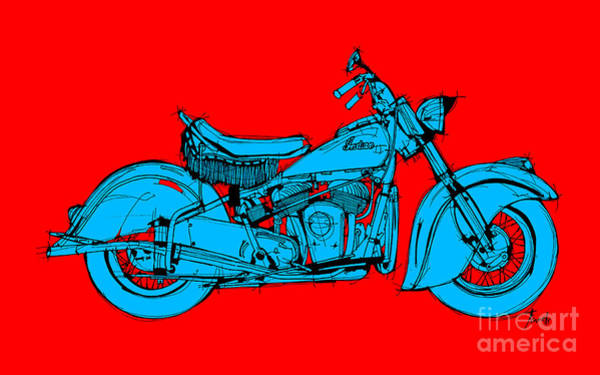 Indian Drawing - Indian Chief 1951 Red And Blue by Drawspots Illustrations