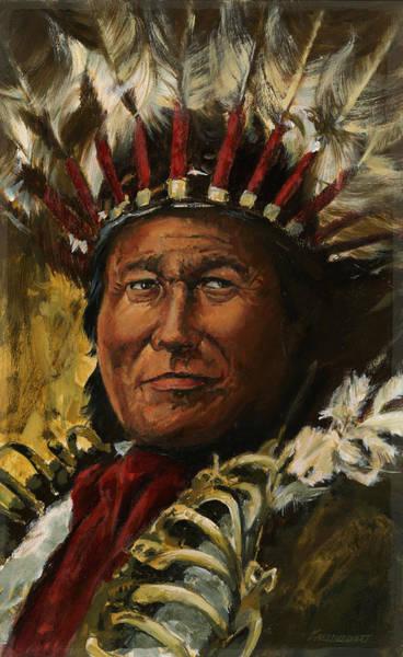 Native Headdress Painting - Portrait Big Chief by Don  Langeneckert