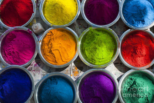 India Photograph - Indian Coloured Powder Bowls by Tim Gainey