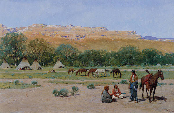 Indian Camp Painting - Indian Encampment by Henry Farny