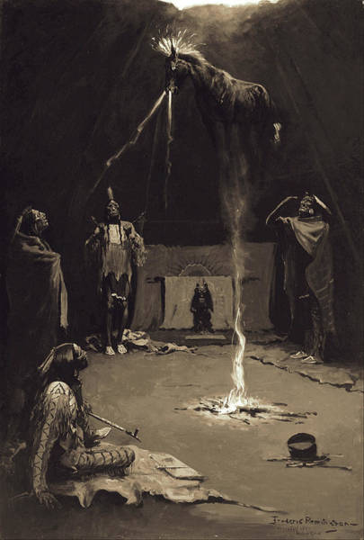 Indian God Painting - Indian Fire God. The Going Of The Medicine-horse by Frederic Remington