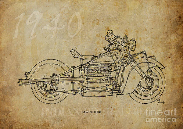 Indian Drawing - Indian Four 1940 by Drawspots Illustrations