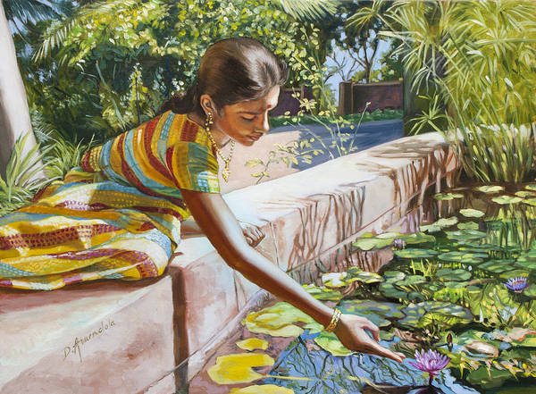 Waterlily Painting - Indian Girl Near The Waterlilies  by Dominique Amendola