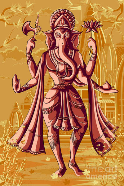 Worship Wall Art - Digital Art - Indian God Ganpati In Blessing Posture by Vecton