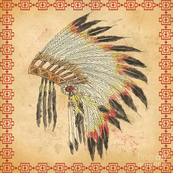 Paper Dress Mixed Media - Indian Head Dress-a by Jean Plout