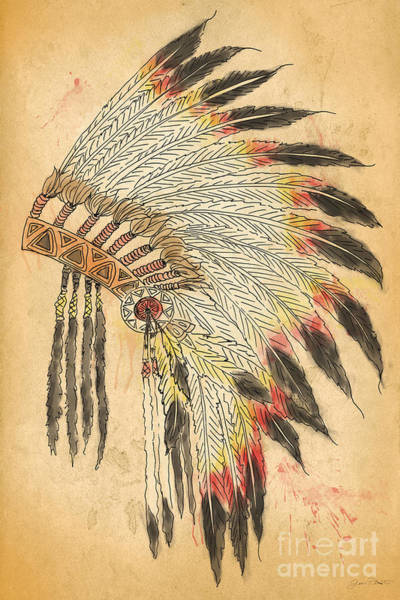 Paper Dress Mixed Media - Indian Head Dress-b by Jean Plout