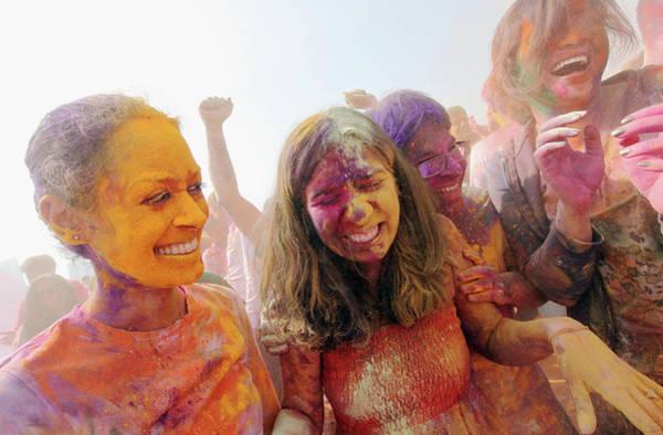 Holi Photograph - Indian Holi Festival Celebrated On Boat by Mario Tama