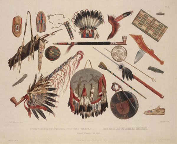 Drawing - Indian Implements And Arms by Karl Bodmer