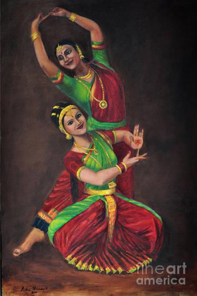 Painting - Indian Kuchipudi Dancers by Asha Sudhaker Shenoy