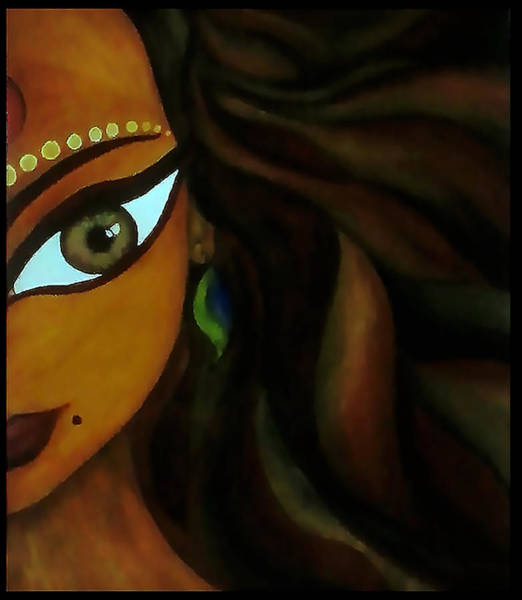 Finger Paint Painting - Indian Lady  by Sivaanan Balachandran