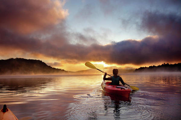 New Years Day Photograph - Indian Lake Kayaker At Sunrise by Linked Ring Photography