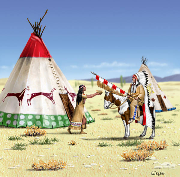 American Southwest Digital Art - Native American Indian Maiden And Warrior by Walt Curlee