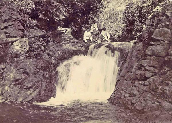 Wall Art - Drawing - Indian Men At A Waterfall At Batu Gantong In Ambon by Artokoloro