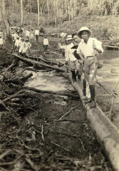 Log Drawing - Indian Men Stabbing A Log Bridge, Anonymous by Artokoloro