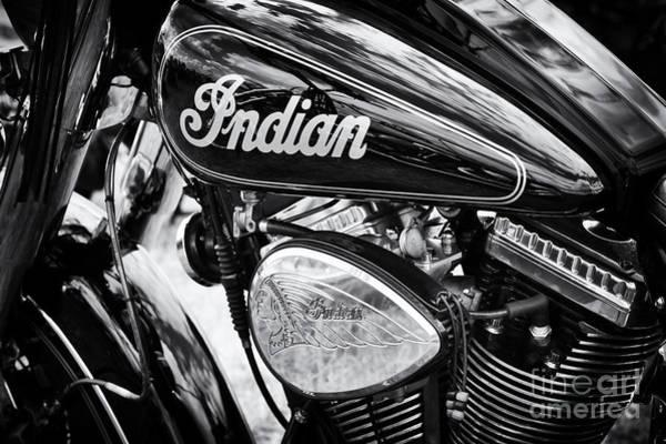 Chiefs Photograph - Indian Chief Motorbike Monochrome by Tim Gainey