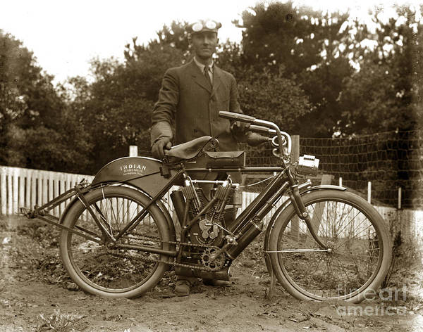 Photograph - Indian Camelback Motorcycle Circa 1908 by California Views Archives Mr Pat Hathaway Archives
