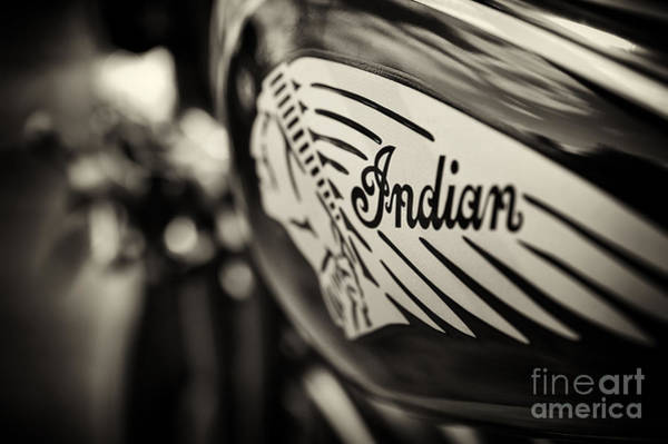 Depth Of Field Photograph - Indian Motorcycle Sepia by Tim Gainey