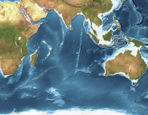 Noaa Chart Wall Art - Photograph - Indian Ocean Sea Floor Topography by Planetary Visions Ltd/science Photo Library
