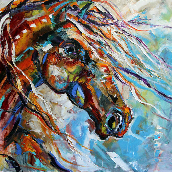 Dressage Painting - Indian Paint Pony by Laurie Pace