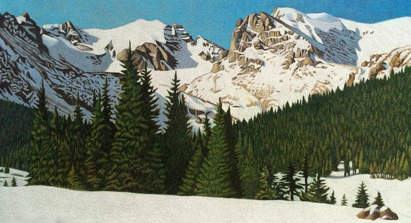 Evergreen Trees Drawing - Indian Peaks Winter by Dan Miller