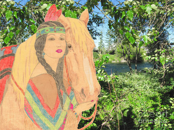 Drawing - Indian Princess And Horse V2 by Donna L Munro