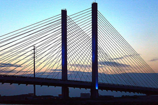 Photograph - Indian River Bridge Blue Light by Bill Swartwout Photography