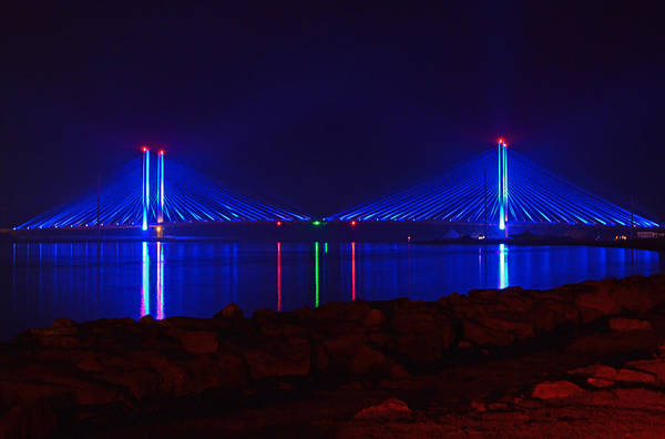 Photograph - Indian River Inlet Bridge After Dark by Bill Swartwout Photography