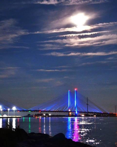 Photograph - Indian River Inlet Bridge At Night - Delaware by Kim Bemis