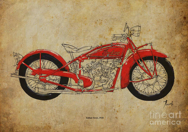 Wall Art - Painting - Indian Scout 1928 by Drawspots Illustrations