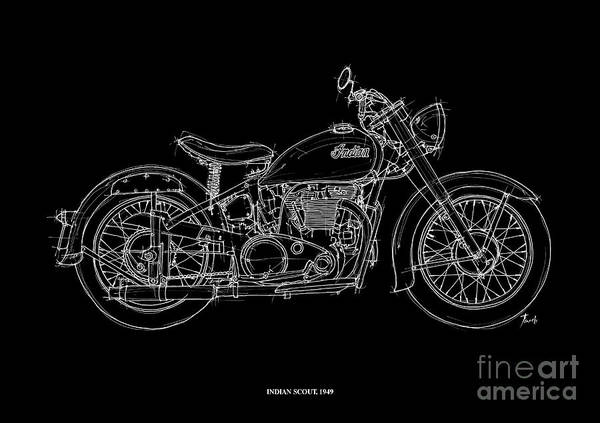 Indian Drawing - Indian Scout 1949 by Drawspots Illustrations