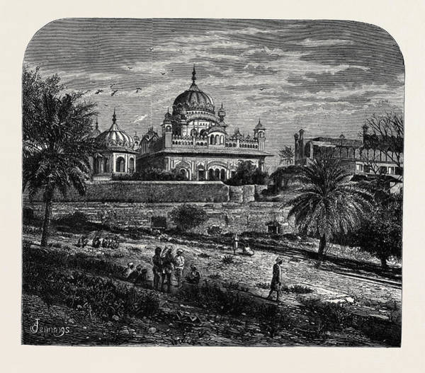 Singh Drawing - Indian Sketches The Tomb Of Runjeet Singh by Indian School