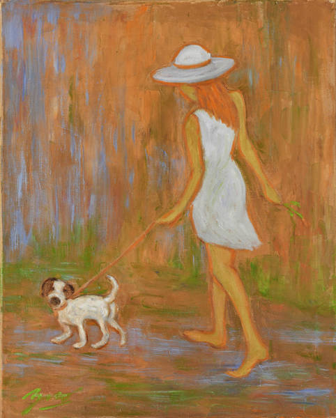 Dog Hat Wall Art - Painting - Indian Summer On The Path by Xueling Zou