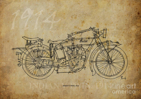 Limited Edition Wall Art - Painting - Indian V-twin 1914 by Drawspots Illustrations
