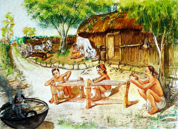 Mumbai Painting - Indian Village Life-1 by Bhanu Dudhat