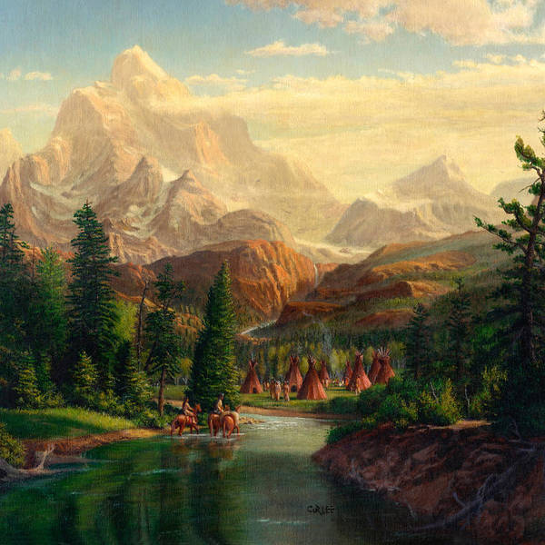 Indian Camp Painting - Indian Village Trapper Western Mountain Landscape Oil Painting - Native Americans -square Format by Walt Curlee