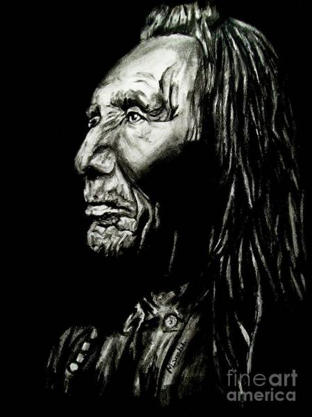 Native Drawing - Indian Warrior by Michael Grubb