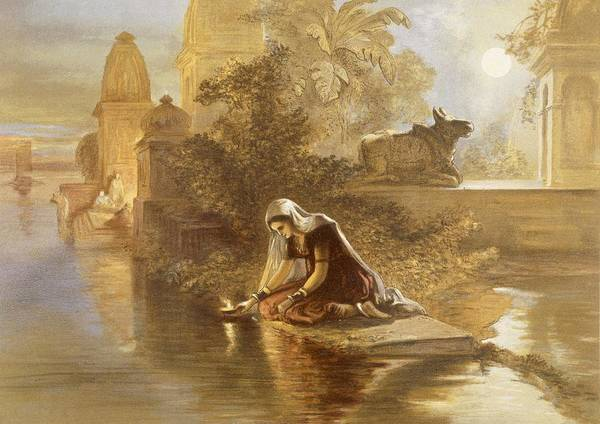 Hindu Drawing - Indian Woman Floating Lamps by William 'Crimea' Simpson
