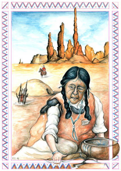 Drawing - Navajo Woman - Native American Art Drawing by Peter Potter