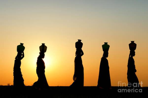 Wall Art - Photograph - Indian Women Carrying Water Pots At Sunset by Tim Gainey