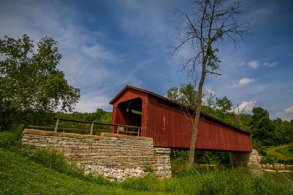 Photograph - Indiana - Cataract Falls Covered Bridge Owen County - Horiz by Ron Pate