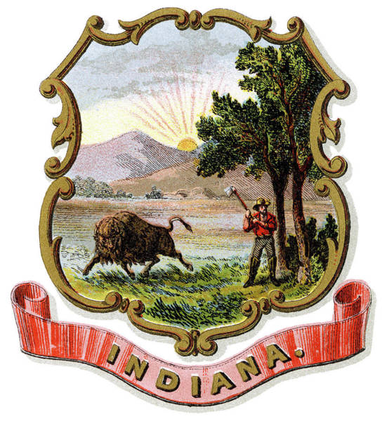 Wall Art - Painting - Indiana Coat Of Arms by Granger