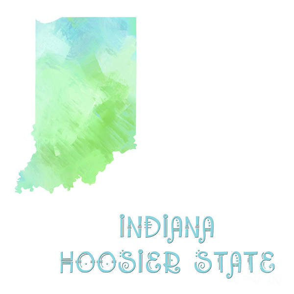 Digital Art - Indiana - Hoosier State - Map - State Phrase - Geology by Andee Design