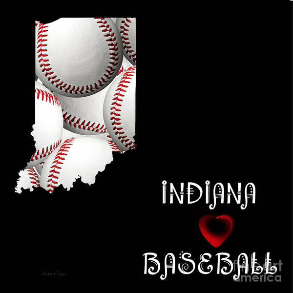 Digital Art - Indiana Loves Baseball by Andee Design